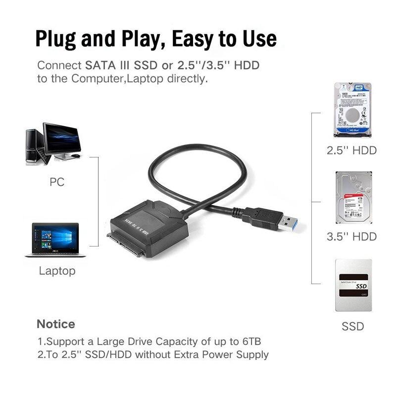 Переходник USB 3,0 a Sata 3,5 2,5 Cable de Adaptador de disco...
