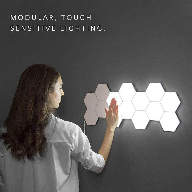 Decoração da casa iluminação sensível hexagonal lâmpadas led luz da noite decoração magnética lâmpada de parede controle toque quantum modular luzes