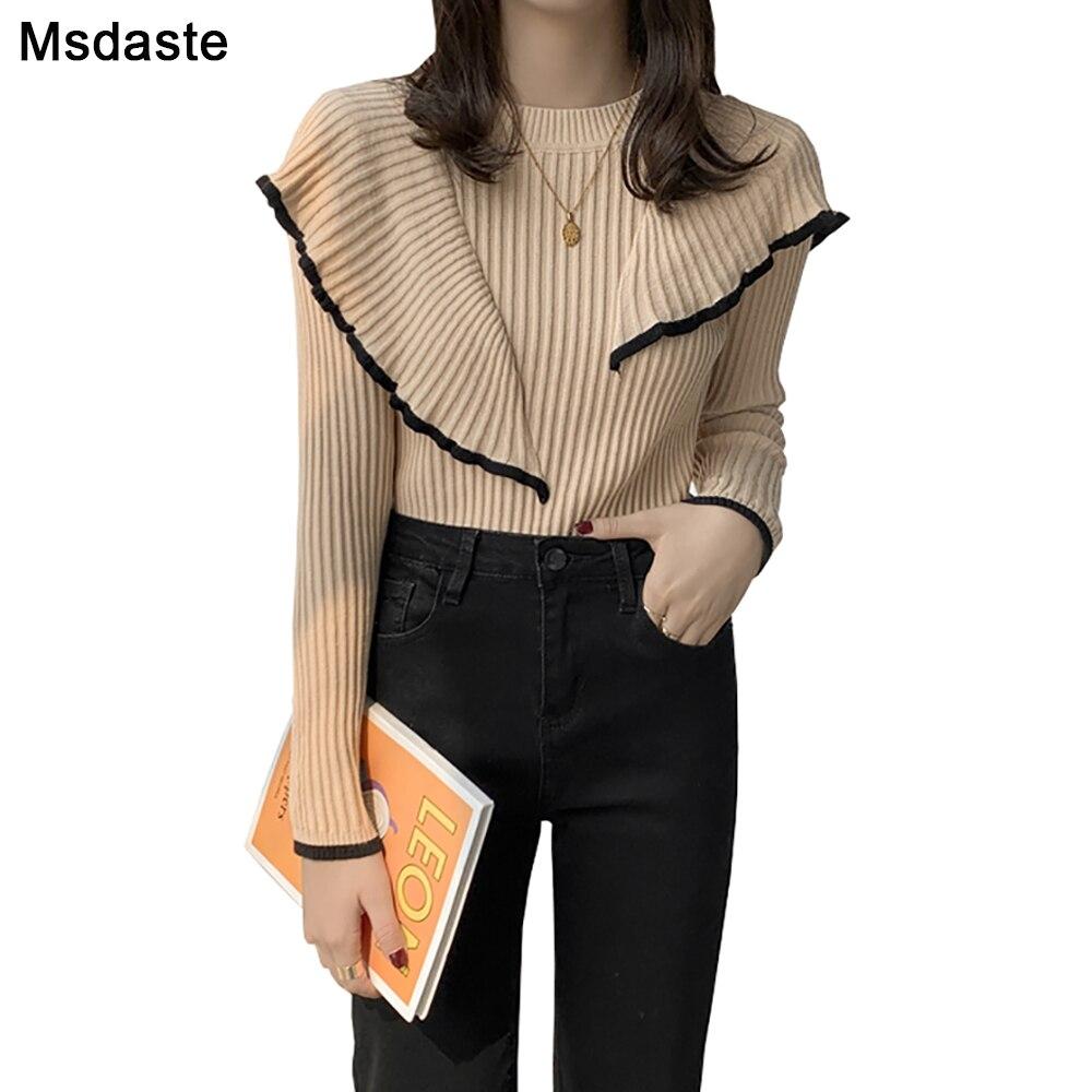 Новые модные дизайнерские женские свитера с оборками, женские пуловеры, топ, вязаный свитер, облегающие Женские топы с длинным рукавом, осен...