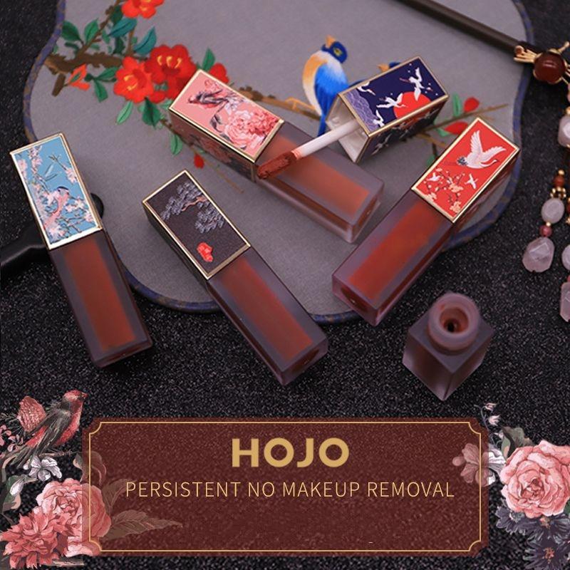 Marca HOJO, el Palacio Imperial, estilo chino, tentación, hidratante, terciopelo suave, brillo de labios mate, no se desvanece, glaseado de labios líquido