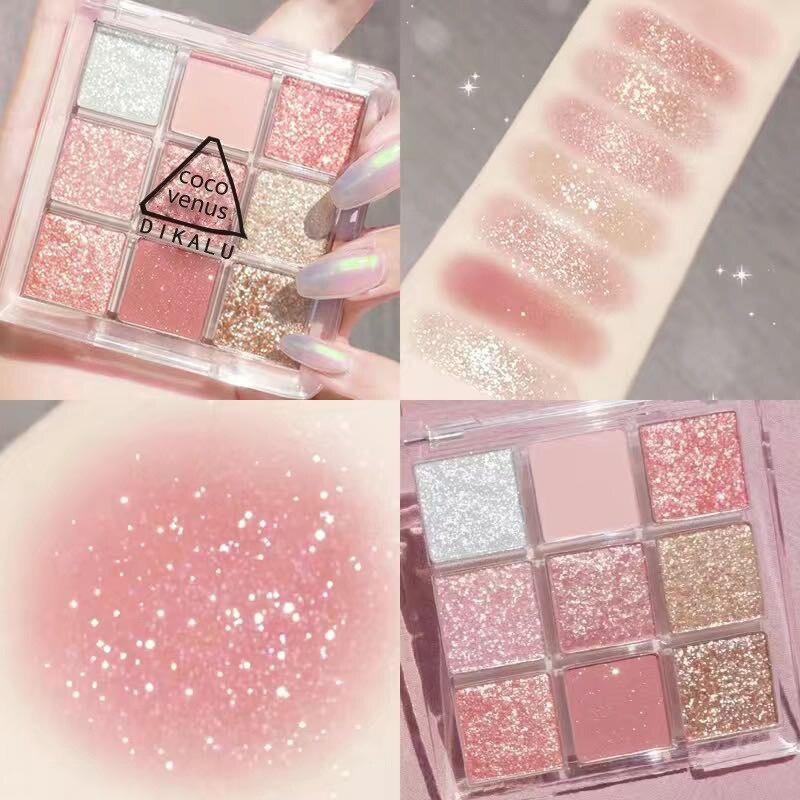 Eye Shadow Powder Metallic Diamond Matte Makeup Glitter Eye Make Up Women Cosmetics 9 Colors Fashion Eyeshadow Palette TSLM2