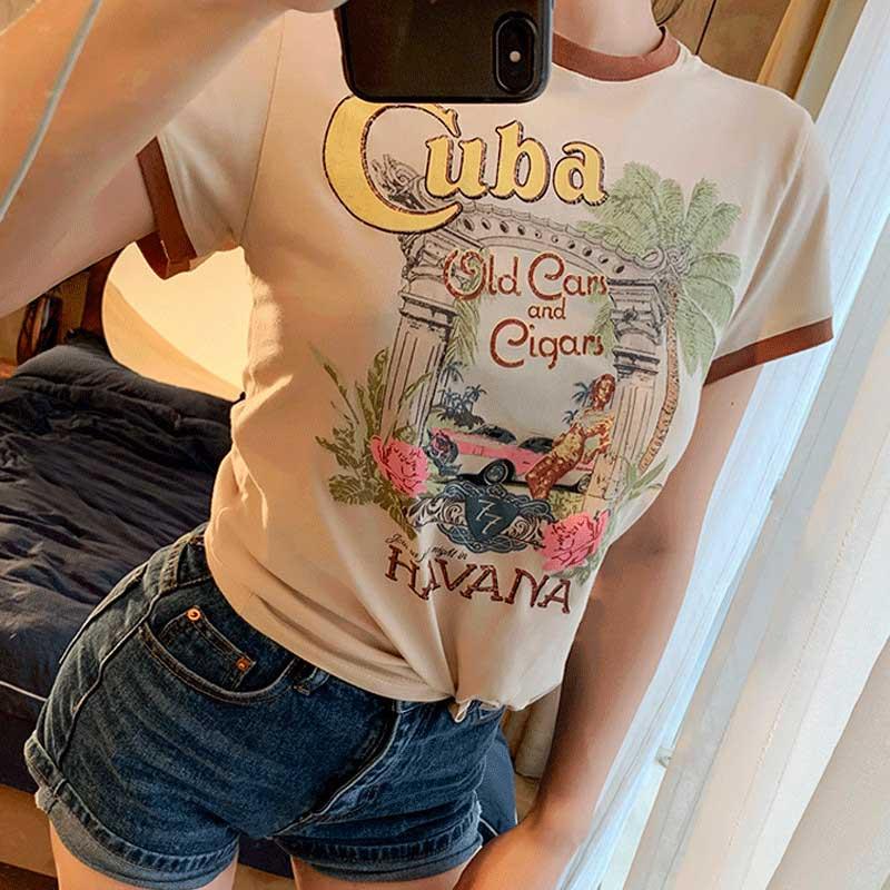 Camiseta de inspiración Bohemia vintage, Camiseta de algodón con cuello redondo y manga corta para mujer, novedad de verano 2020, camiseta gráfica gitana chic para mujer