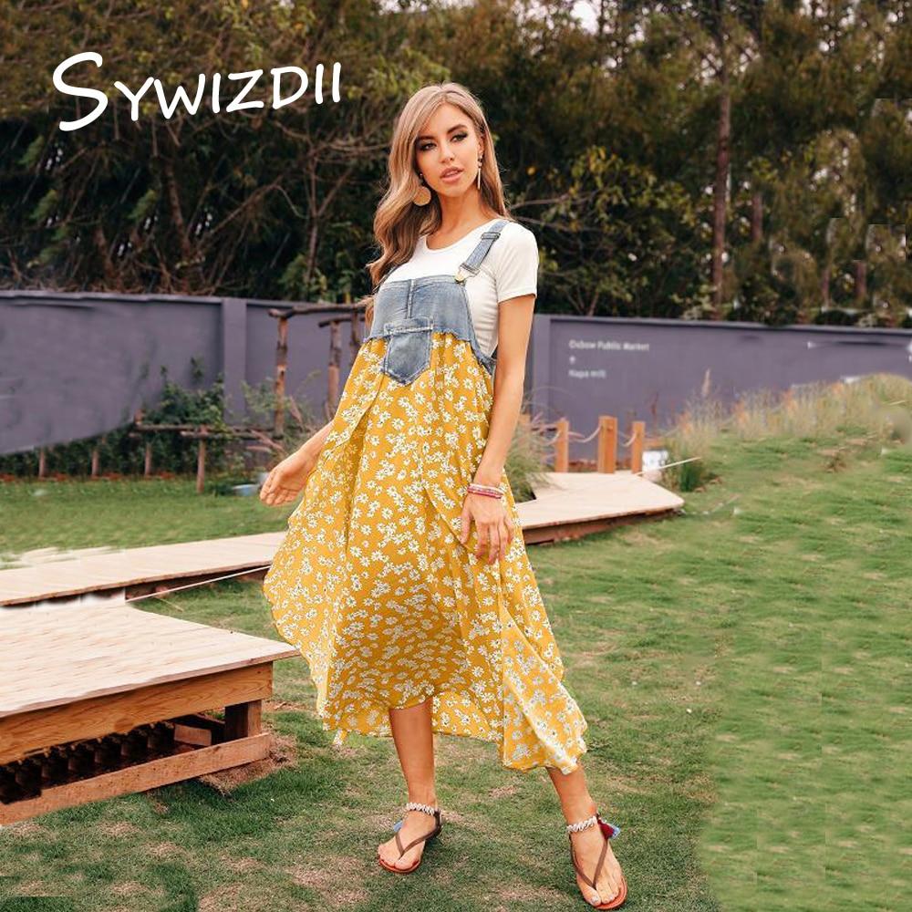 SYWIZDII Plus Size Y2K Clothes Oversize Denim Dress for Femme Oversize Non Sleeves Patchwork Strap Dresses Woman Summer 2021