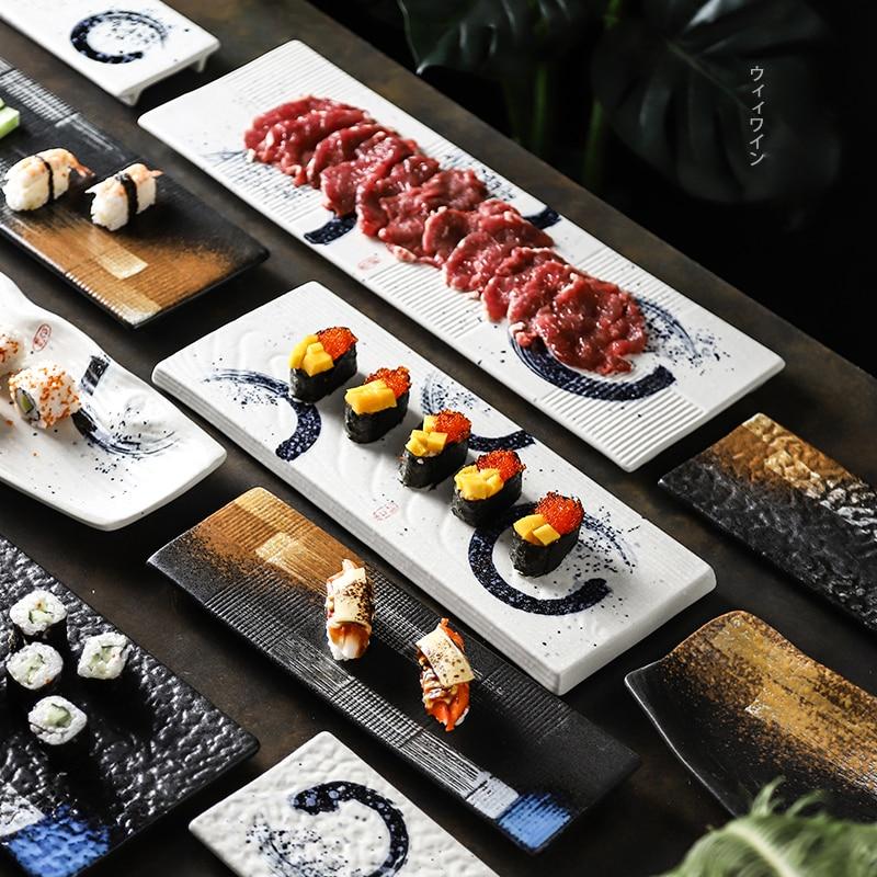 طبق سوشي سيراميك طويل ، على الطريقة اليابانية ، مستطيل ، للمطاعم والفنادق
