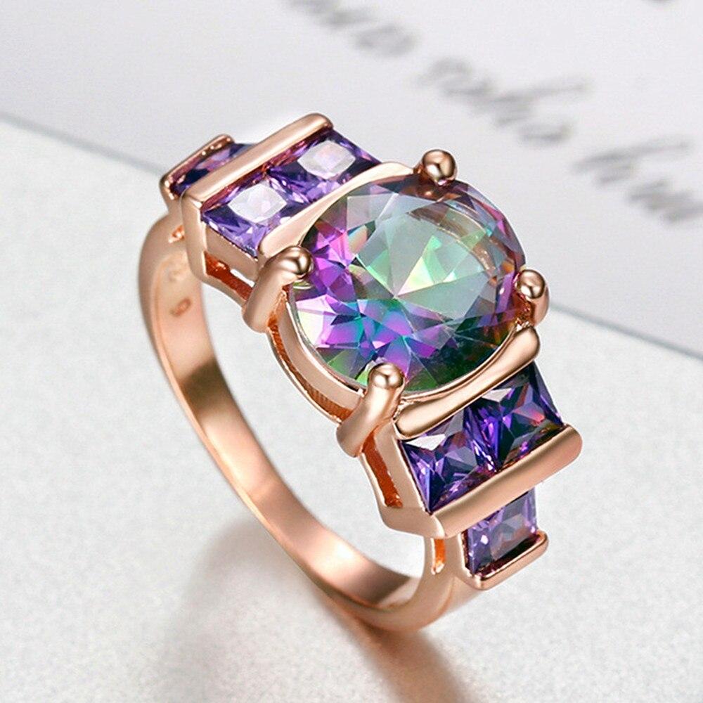 Anillos de gemas amatista de cristal Multicolor para mujeres AAA zirconia diamantes color oro rosa joyería bisutería fiesta regalo de moda