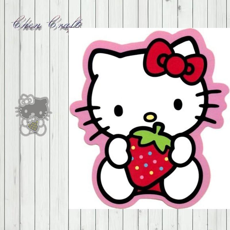 Metal Cutting Dies Stencils Strawberry cat for DIY Scrapbooking Album Paper Card Embossing