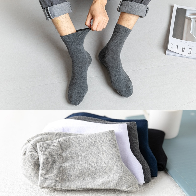 10 Pairs Of Men's Socks In The Tube Versatile Solid Color Cotton Adult Socks Sweat Absorbent Breathable Jacquard Sports Socks