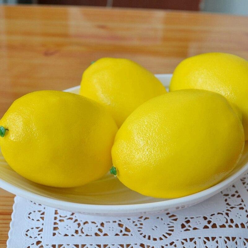 Fruta falsa de calidad Hogar Casa cocina fiesta decoración Artificial realista simulación amarillo limón 10 Uds conjunto