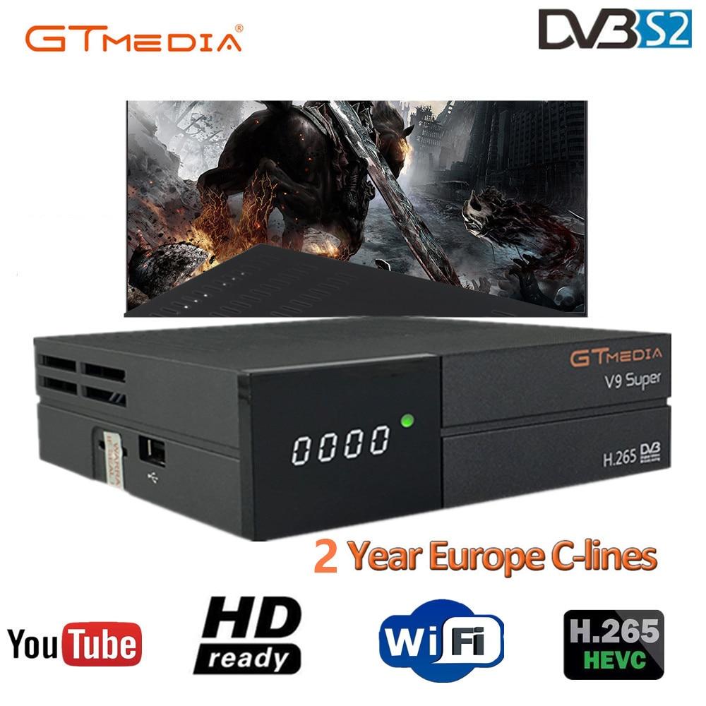Hot GTmedia V9 Super Satellite Receiver Freesat V9 Super DVB-S2 Updated GTmedia V8 Nova with CCcam Cline for 2 Year Spain CCCAM