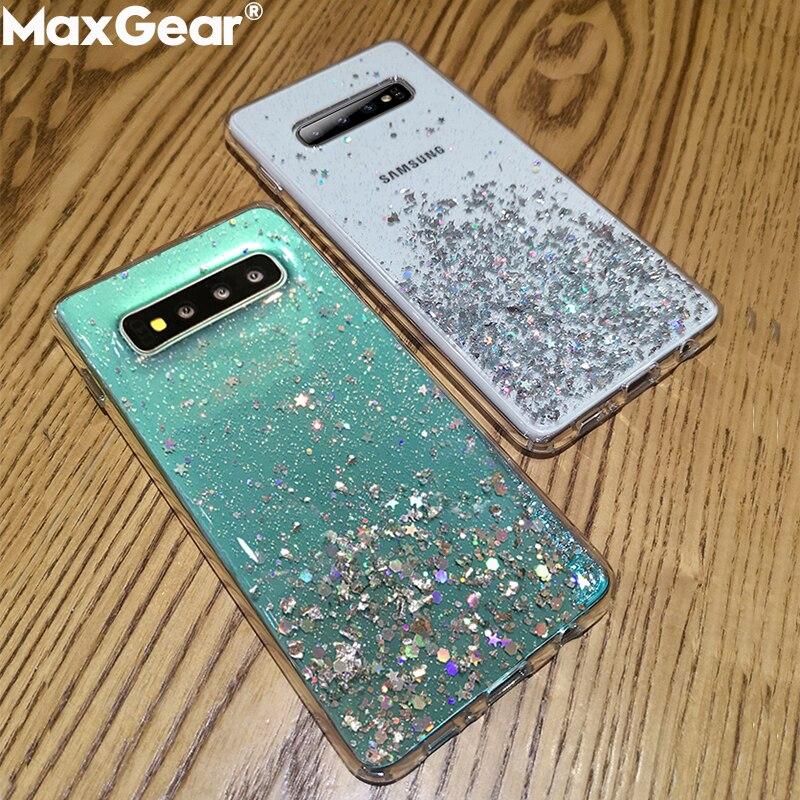 Carcasa de purpurina para Samsung Galaxy S8 S9 S10 Plus Note 8 9 S S9Plus S10plus funda de silicona suave transparente
