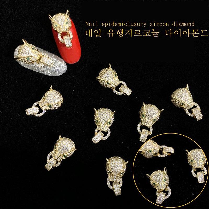 Arte de uñas oro, adornos de lujo, diamantes de imitación, cabeza de leopardo, Año Nuevo, superbrillante, 1 unidad, 2020