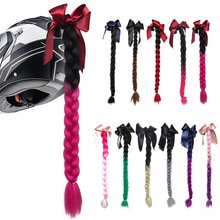 Casco motocicleta casco de mujer trenzas Twist Sucker doble cola de caballo trenzas para casco superventas 60 cm