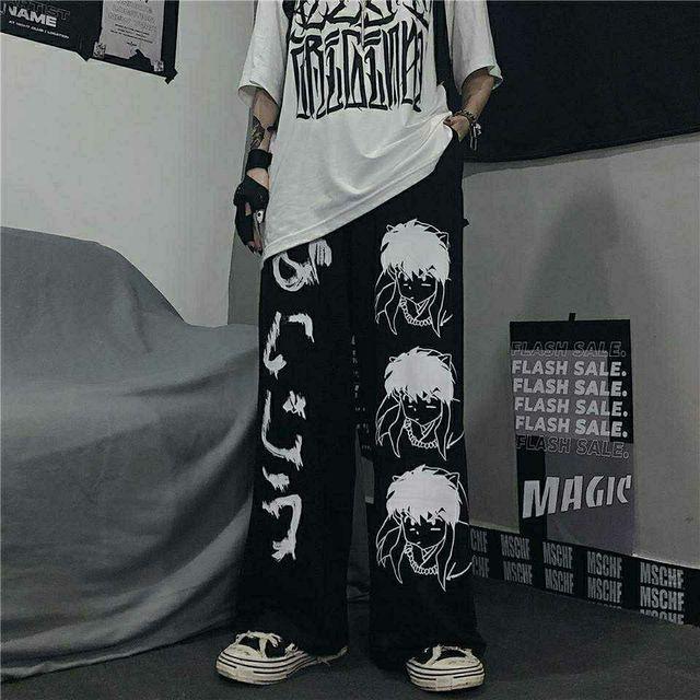 Брюки женские в стиле Харадзюку, штаны с японским узором в стиле хип-хоп, брюки с широкими штанинами для женщин и мужчин, джоггеры, повседневные штаны оверсайз | Женская одежда | АлиЭкспресс