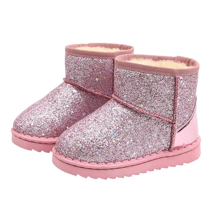2020 Winter Kinder Mode schnee stiefel dicke Kind baumwolle schuhe warme plüsch weichen boden baby mädchen stiefel winter ski boot für baby