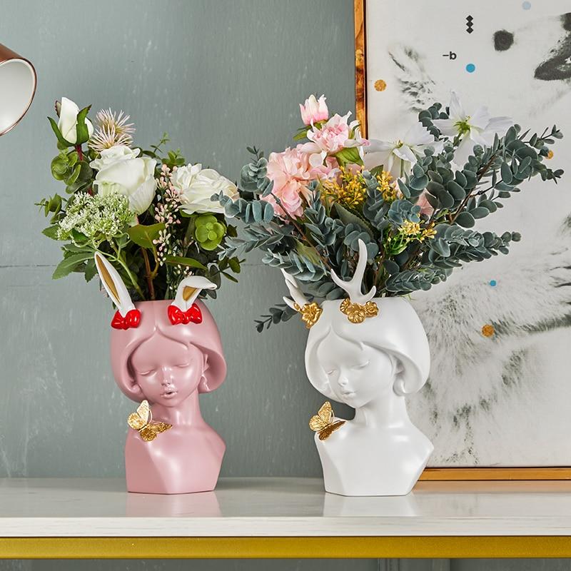 Sculpture vases flower pot flower pots vase decor flower pots decor room figurines can hold water