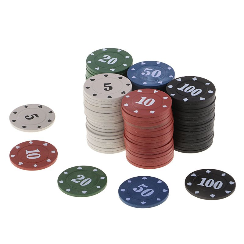 100 Pcs Round Plastic Chips Casino Poker Card Game Baccarat Counting Accessories Dice Entertainment Chip Poker Accessories