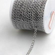 10 mètres en acier inoxydable collier chaînes ton argent 3x4mm pour collier Bracelet chaîne dextension en vrac bijoux à bricoler soi-même faisant du matériel