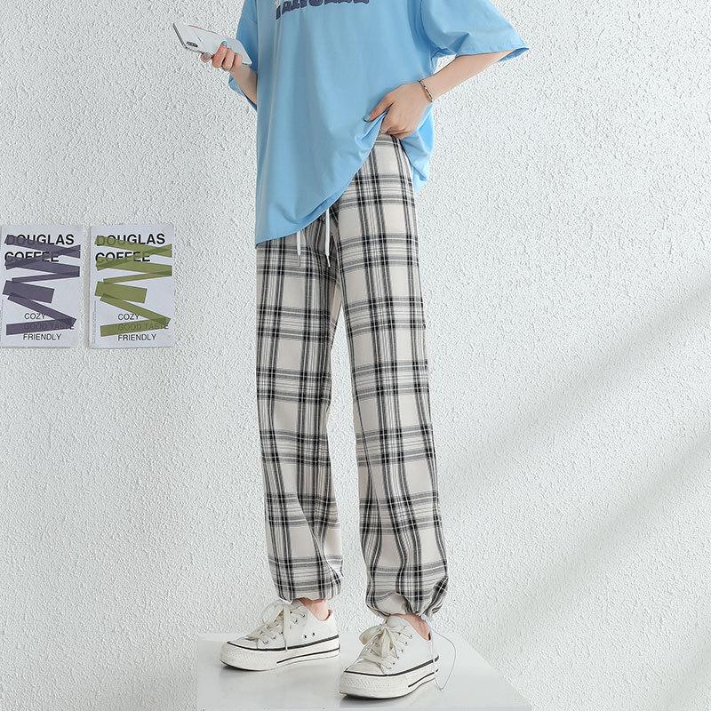 CGC 2021 новые осенние повседневные клетчатые тонкие женские брюки с высокой талией свободные широкие клетчатые брюки прямые женские брюки в с...