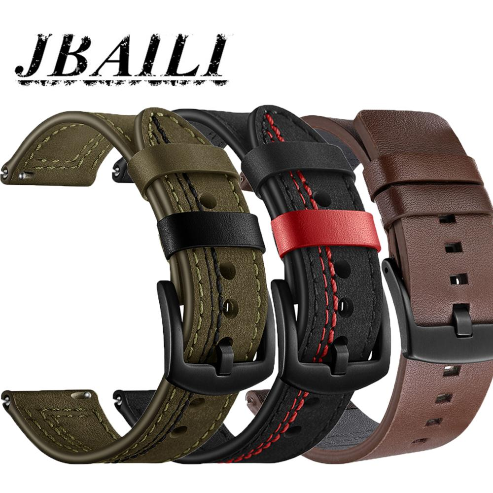Pulseira de relógio de couro genuíno 22mm cinta para huawei relógio gt/gt2 pulseira de relógio substituições para samsung relógio masculino cinta acessórios