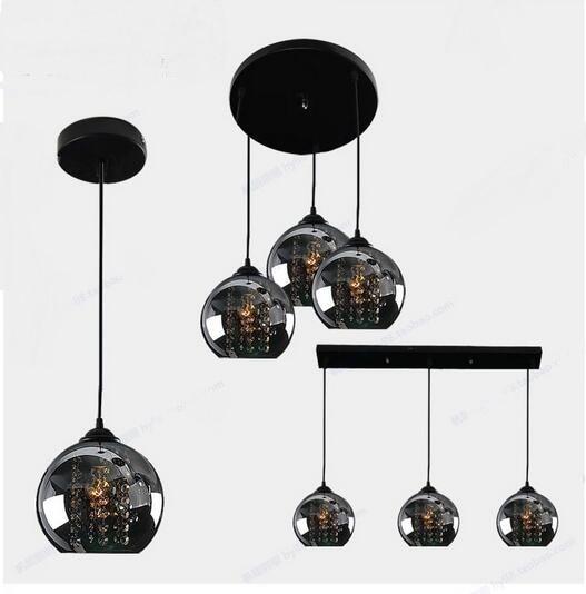 Luces colgantes negras de 3 cabezas, lámpara colgante de cristal de escenario led creativo con tres chasis de tres palabras para restaurante sail lang