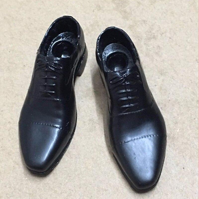 1/6 zapatos de plástico negro para hombre con agujero de clavija sólido F figura de acción para hombre muñeca de juguete accesorios de escena