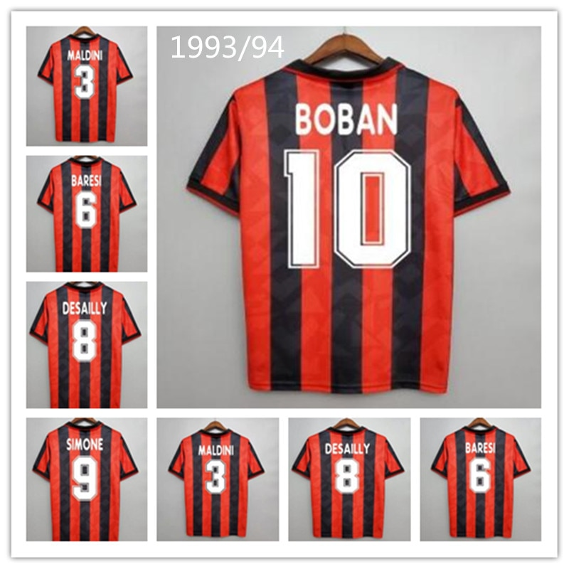 1993/94 Ретро дизайн Maldini Baresi Papin Massaro Simone Alfa tini Donadoni классические футболки винтажные футболки