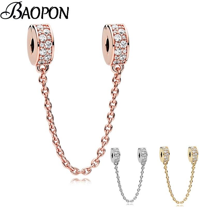 Nuevas cuentas oro rosa encanto Rhinestone cadena de seguridad ajuste Pandora pulsera brazalete DIY mujeres fabricación de joyas