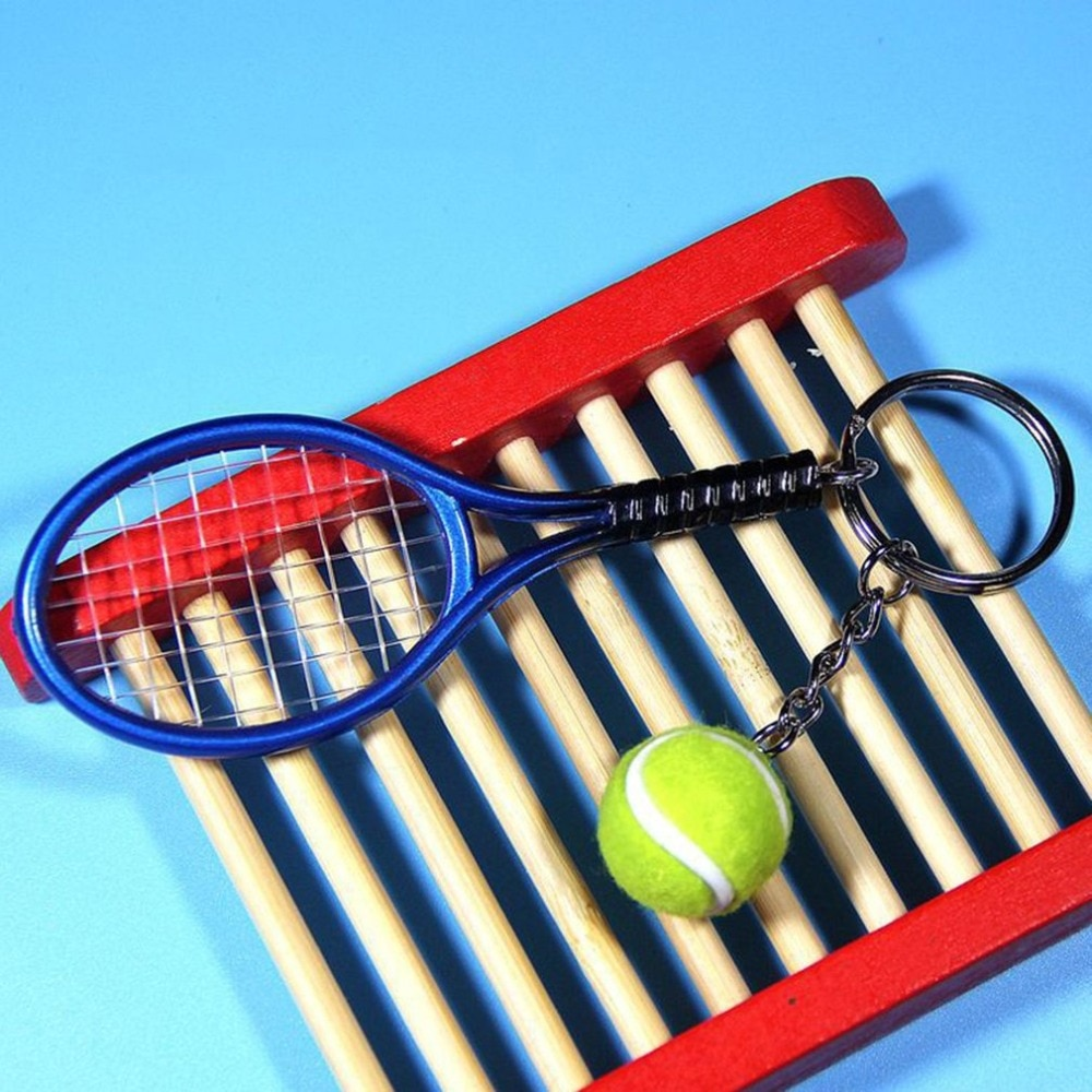 Fashion Mini Tennis Racket Pendant Keychain Keyring Key Chain Ring Finder Holer Accessories For Lover's Day Gifts