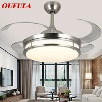 oufula modern ceiling fan lights lamps with invisible fan blade remote control decorative for home living room bedroom