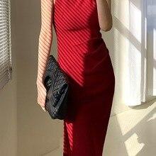 2021 Summer A-Line Sleeveless Red Dress Women Elegant Ruffles Off Shoulder Sexy Long Dresses Female