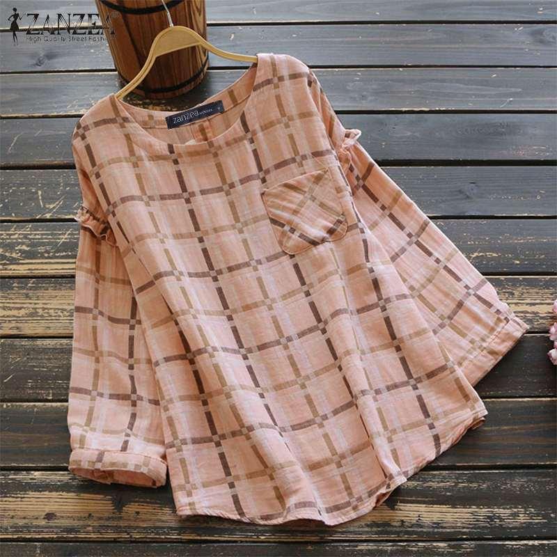 2020 ZANZEA elegante camisa de manga larga Casual Ruffles Hem Tops mujeres Plaid Camisa de cuadros algodón Lino Blusas Femininas túnica 5XL