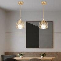 Современный светодиодный подвесной светильник, Минималистичная Металлическая лампа золотого и черного цвета в виде клетки, лампа для гост...