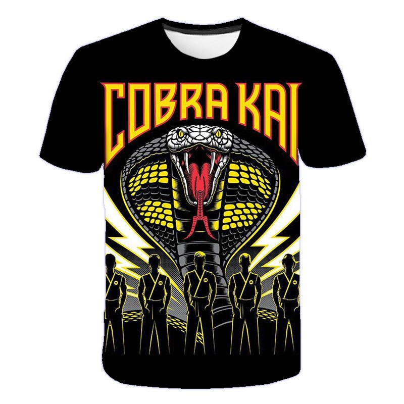 Cool Cobra Kai T Shirt Kids Boys Clothes Forest Venomous Snake Short Sleeve Summer Tops Tees 3d Print Funny T-shirt Streetwear