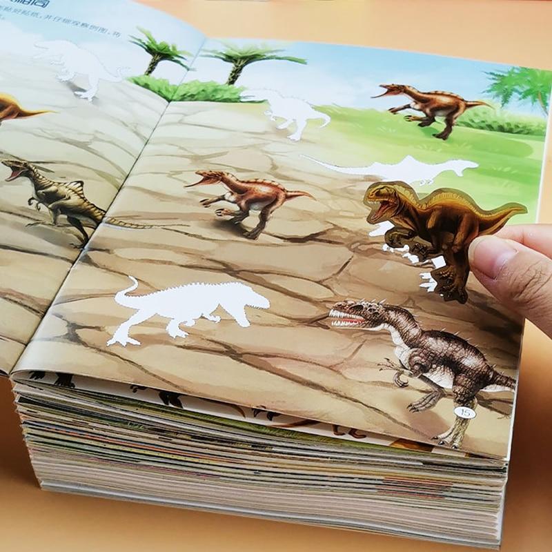 Детская мультяшная наклейка «сделай сам», милые аниме наклейки, Детская Наклейка с динозавром для тренировки концентрации, книжка-наклейка... книжка наклейка время