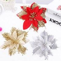 Christmas Artificial Flowers Ornament Glittery Openwork Leaf Flower Diy Wreath Rattan Circle Decor Christmas Tree Flower