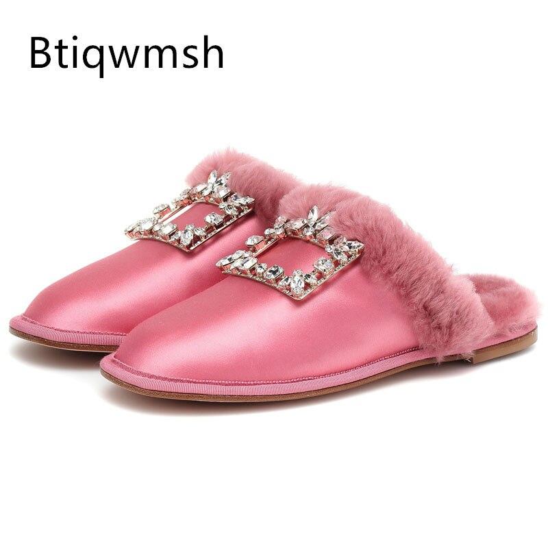 فاخر ساتان نِعال من الفراء امرأة مستديرة اصبع القدم وحيد القرن مشبك حذاء مسطح الإناث المتزلجون الموضة