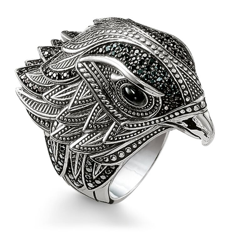 MOONROCY tailandés Color plateado anillos de cristal fiesta anillo águila para mujeres niñas regalo Dropshipping. Exclusivo. Pájaro venta al por mayor de joyería