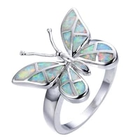 cute butterfly animal design ring imitation blue fire opal ring womens accessories jewelry boho statement girl gift wholesale