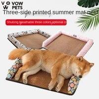 summer new dog serging pillow mat mat mat nest summer dog cat breathable woven pet mat comfortable and breathable 2021 vow pets