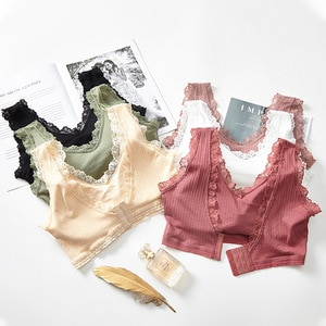Solid Seamless Lace Thin Push Up the Small Bust GIRL'S Underwear Three Buckle without Steel Ring Adjustment Bra Women