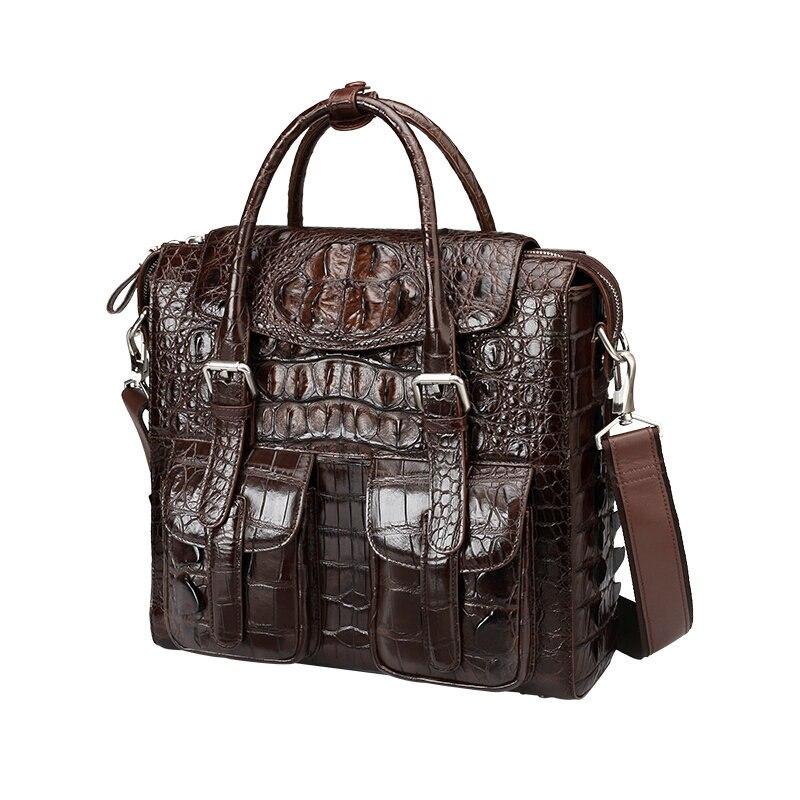 Crocodile Genuine Leather Men Laptop Men's Messenger Shoulder Bag Business Luxury Briefcase Computer High Handbag Free Shipping