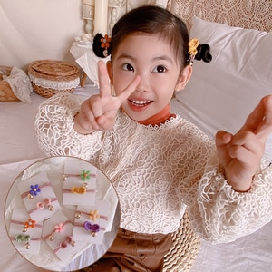 Korean children's hair ornaments with elastic band, bow bow, beaded yarn and sweet two piece headdress