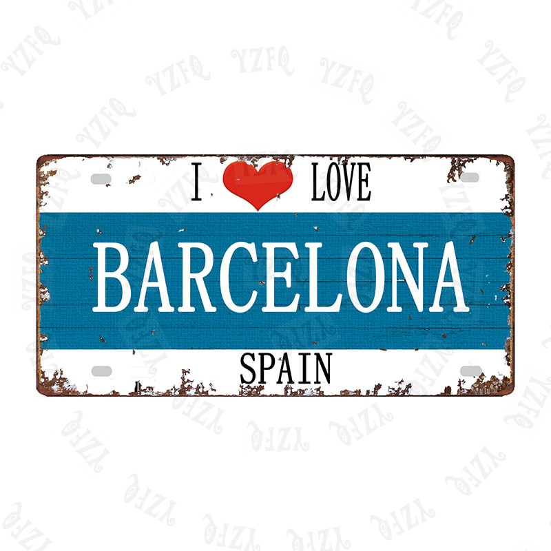 Póster de viaje Vintage I Love Barcelona, 30x15cm, de Metal, para pared,...