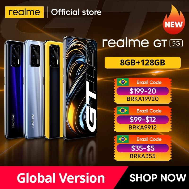 "World Premiere realme GT Global Version Snapdragon 888 65W Super Dart Charge 120Hz 6.43"" AMOLED 8GB 128GB NFC 4500mAh Smartphone"