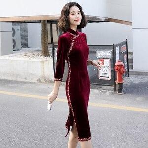 Cheongsam Dress Chinese Style Women Robe Vintage Femme Autumn Chinese Oriental Dresses Qipao Velvet Sexy Asian Dress FF2510