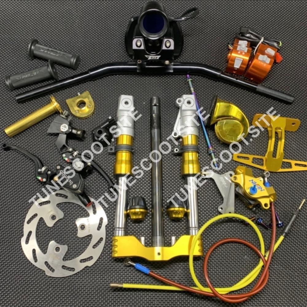 Kit de manillar para DIO50 AF18 AF28, montaje de carreras, vástago de montaje, odómetro, manijas, soporte de freno, disco de ajuste de acelerador gaug dio 50