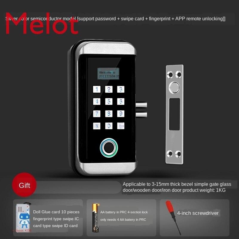 Open-Hole-Free Glass Door Fingerprint Code Lock Single Two-Door Office Glass Access Lock Electronic Smart Lock enlarge