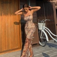 nibber y2k sling tight mesh summer dress woman traf robe party sleeve elegant long dress holiday travel daily office banquet