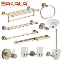 bakala brushed goldgrey brass round wall mounted hand towel bar toilet paper holder robe towel hooks bathroom accessories kit
