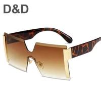 dd oversized square rimless sunglasses women brand designer flat top big sun glasses female one piece travel gafa de sol 2020